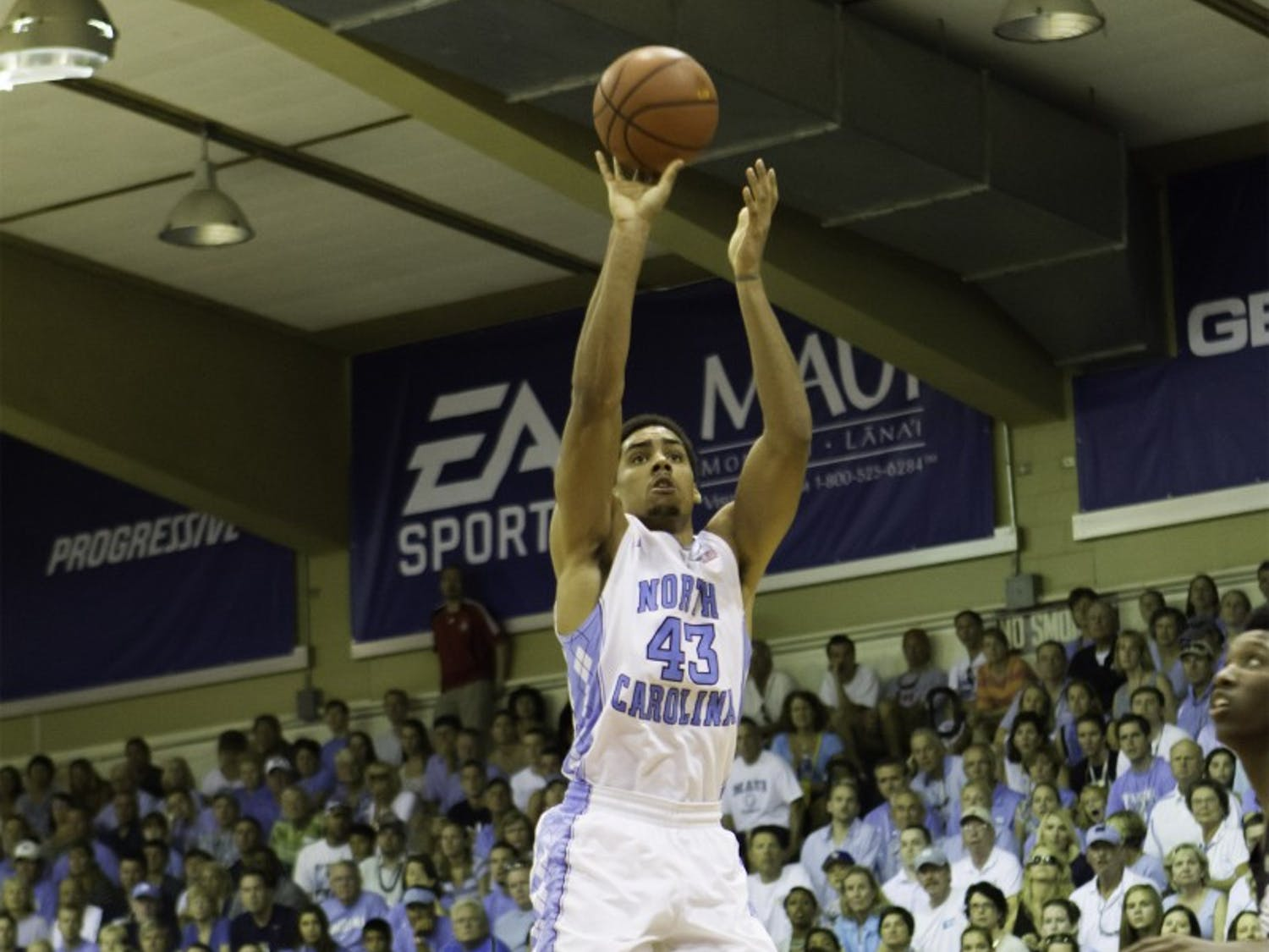 James Michael McAdoo shoots the ball in UNC's first-round Maui Invitational victory against Mississippi State in Nov. 2012.