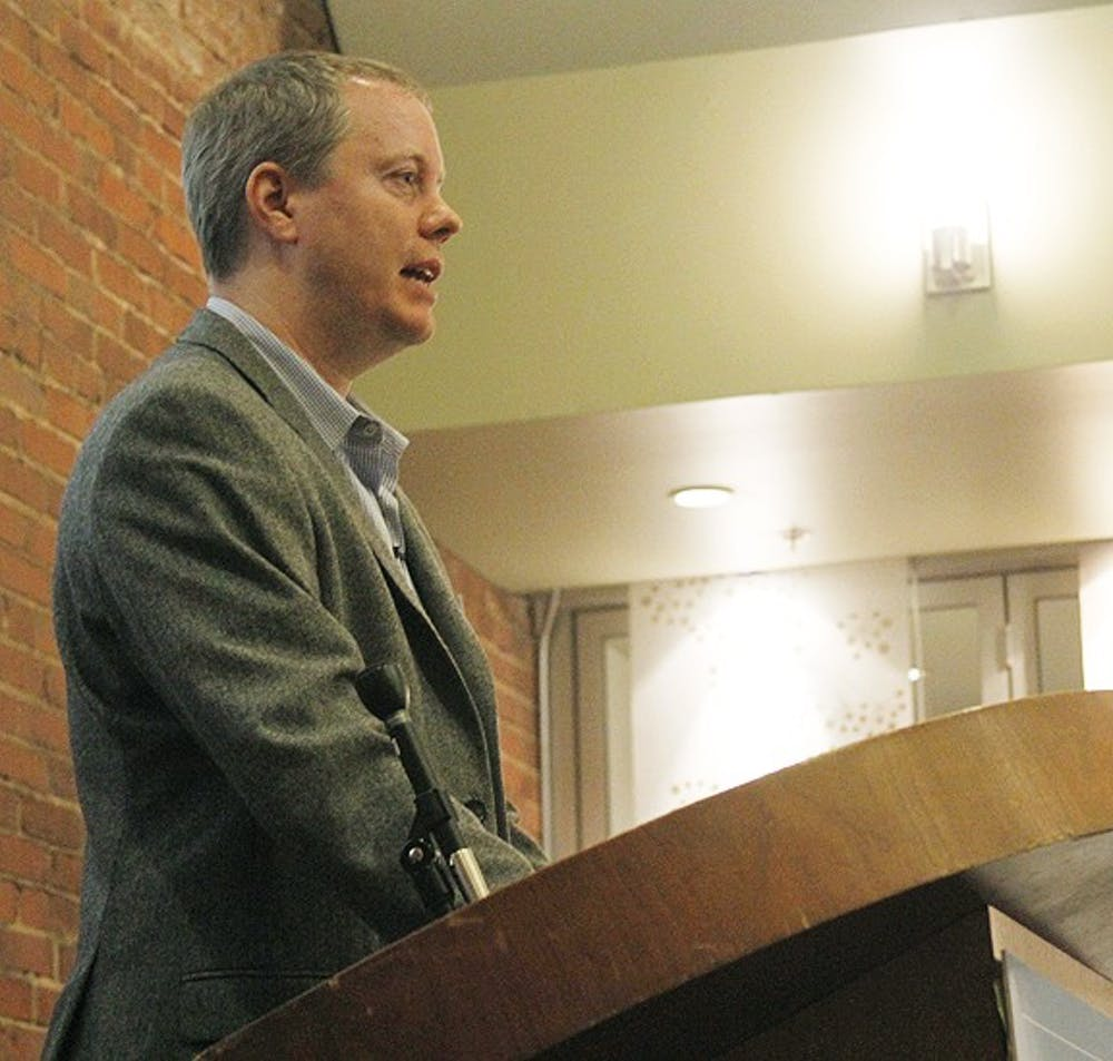Saturday Night Live writer and writing supervisor Bryan Tucker speaks at the Top of The Hill Great Room about his comic view of the U.S. presidential election. His talk was the inaugral Jeff Macnelly Lecture for the UNC School of Journalism and Mass Communication.