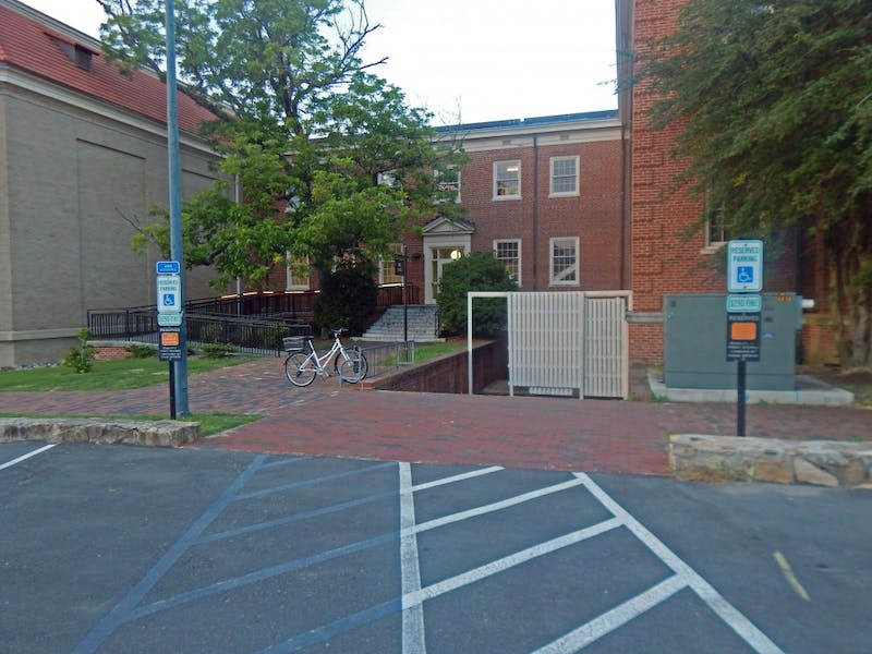 Swain Lot has accessible parking spaces near Hill Hall and Hanes Art Center.