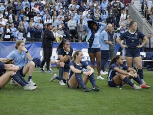 UNC women's soccer watches FSU receive trophies after the NCAA Championship game at WakeMed Soccer Park on Sunday, Dec. 2, 2018. UNC lost 0-1 against FSU.