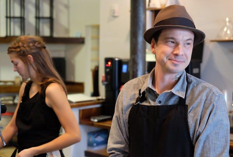 Shaw Sturtonworks alongside Laura Leech at Grey Squirrel, a new coffee show in Carrboro.