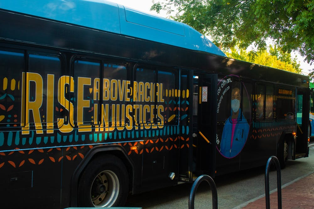 <p>The new art bus, highlighting the the ongoing struggle for racial justice, stopped on Franklin Street for a break on Aug. 23.</p>