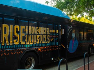The new art bus, highlighting the the ongoing struggle for racial justice, stopped on Franklin Street for a break on Aug. 23.