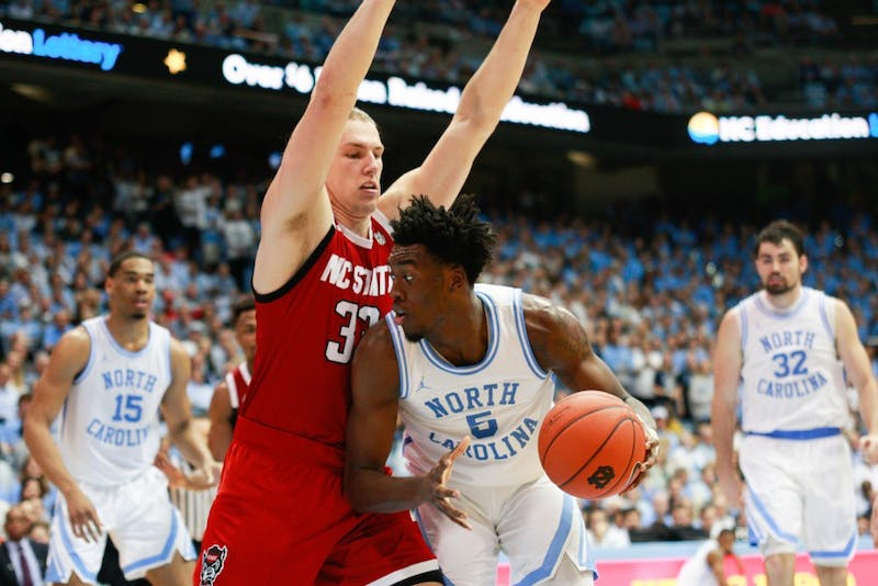 First-year guard Nassir Little (5) drives toward the net during UNC's 113-96 win at the Smith Center on Tuesday, Feb. 5, 2019.