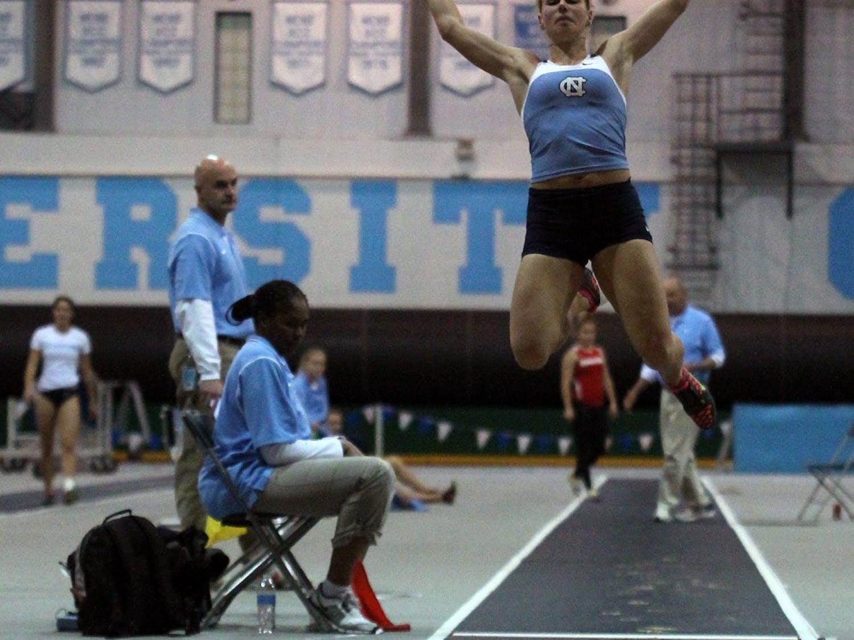 Redshirt junior Xenia Rahn competes in the long jump Friday. She set a school pentathlon record.