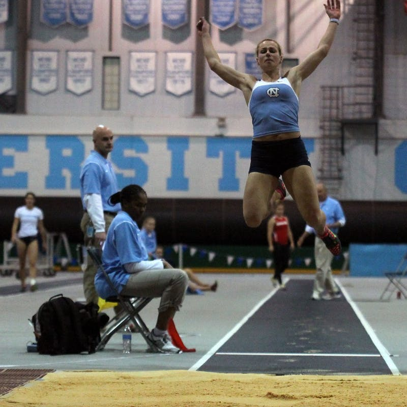 Redshirt junior Xenia Rahn competes in the long jump Friday. She set a school pentathlon record.