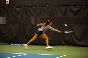 Sophomore Sophia Patel returns the ball in a singles match against NC State at the 2019 Kitty Harrison Invitational hosted by UNC at the Cone-Kenfield Tennis Center on Sunday, Nov. 3, 2019. 8 teams competed in the multi-day tournament, and UNC