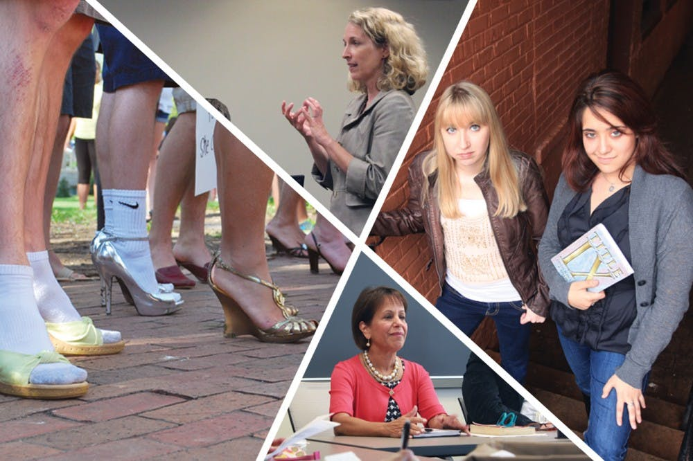 <p>Clockwise from left: The Walk a Mile in Her Shoes event was held this spring to bring men into the conversation on sexual assault. Christi Hurt, UNC's Sexual Assault Task Force chairwoman, speaks about policies at a meeting. Landen Gambill and Andrea Pino are among the filers of federal complaints against UNC's handling of sexual assault. Chancellor Carol Folt approved the policy when she received it a week before classes started.</p>
