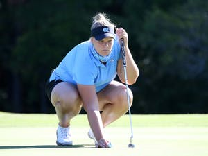 UNC Women's Golf player Krista Junkkari on the Finley Golf Course on Friday, Oct. 11, 2019. Photo courtesy of UNC Athletic Communications