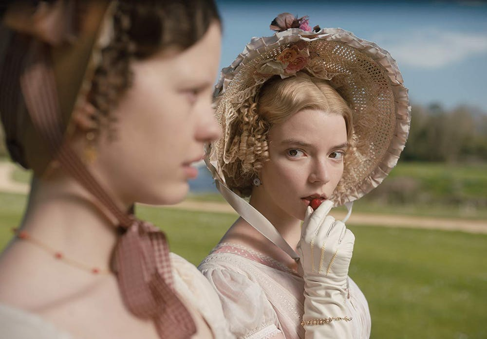 """Anya Taylor-Joy, right, dons a joy-inducing bonnet in Autumn de Wilde's upcoming film """"Emma,"""" based on the Jane Austen novel. Photo courtesy of Box Hill Films/Focus Features."""