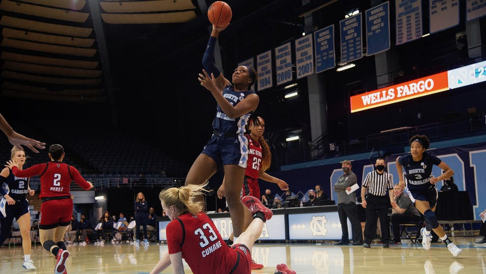 UNC senior center Janelle Bailey prepares a shot during a game against N.C. State in Carmichael Arena on Sunday, Feb. 7, 2021. UNC upset N.C. State 76-69. Photo courtesy of Dana Gentry.