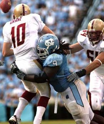 "Marvin Austin had two QB hurries on BC?s Chris Crane on Saturday"" and pressure allowed UNC?s defense to snag three interceptions. ?We forced him into some bad throws and we capitalized on it? linebacker Mark Paschal said."