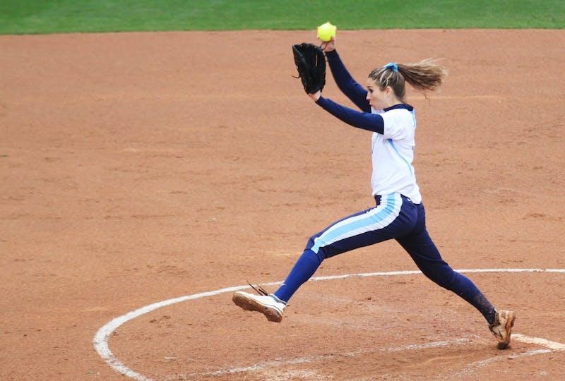 Junior Lori Spingola of Atlanta, Georgia, pitches for UNC. UNC beat Radford 7-3.