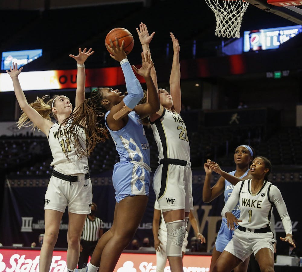 UNC senior center Janelle Bailey (44) attempts to make a basket during a game against Wake Forest on Thursday, Nov. 10, 2020. UNC fell to Wake Forest 57-54. Photo courtesy of UNC Athletic Communications