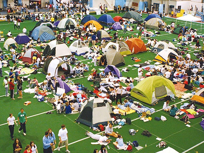 Teams set up camp inside the Eddie Smith Field House.
