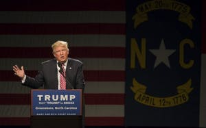 President Donald Trump speaks in the Greensboro Coliseum on Tuesday, June 14th.