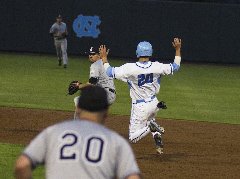 Junior outfielder Skye Bolt runs to second base. The Tarheels beat Appalachian State 9-0.