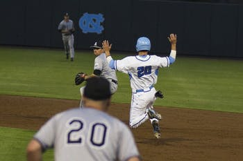 Junior outfielder Skye Bolt runs to second base. The Tarheels beat Appalachian State 9-0.
