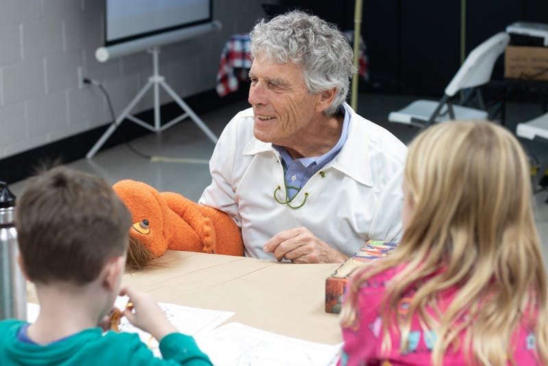 Activist Harry Taylor performs a puppet show educating children on gerrymandering at the Gerrrymander Bash. The Leaugue of Women Voters of North Carolina held the Gerrymander Bash to inform children and young voters on gerrymandering in local districts on Saturday, Nov. 16, 2019 at the Chapel Hill Community Center on 120 S Estes Dr.