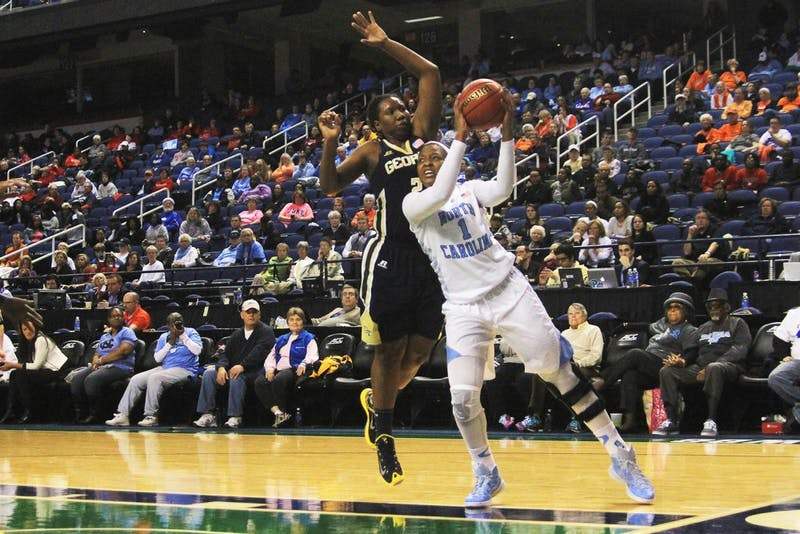 Sophomore forward Stephanie Mavunga looks for an open shot in the game against Georgia Tech in the second round of thewomen's ACC Tournament in the Greensboro Coliseum on Thursday evening.