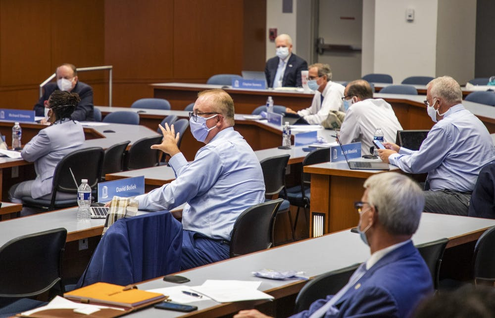 <p>UNC Board of Trustees member David Boliek discusses amendments to a new policy for renaming campus buildings during a UNC Board of Trustees meeting on Thursday, July 16, 2020, in Chapel Hill, N.C.</p> <p>Photo courtesy of Casey Toth of the News &amp; Observer.&nbsp;</p>