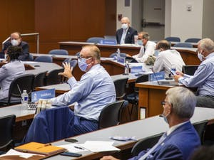 UNC Board of Trustees member David Boliek discusses amendments to a new policy for renaming campus buildings during a UNC Board of Trustees meeting on Thursday, July 16, 2020, in Chapel Hill, N.C. Photo courtesy of Casey Toth of the News & Observer.