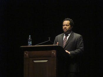 Civil and Human Rights leader Ben Jealous spoke about Race in America, in Memorial Hall on Monday.