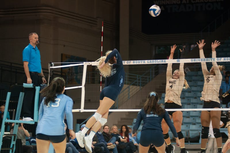 Senior Outside Hitter Skylar Wine (6) attempts a kill during UNC Volleyball's 3-2 loss to Wake Forest on Wednesday, Nov. 27, 2019.