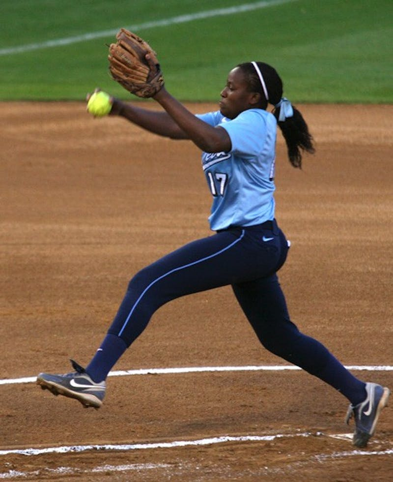 Sophomore Constance Orr pitches in Tuesday's game against Campbell. DTH/Stephen Mitchell