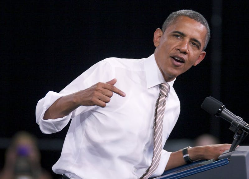 President Obama delivers his speech about the American Jobs Act of 2011 in Reynolds Coliseum on N.C. State University's campus on Wednesday afternoon.