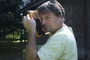 "Marty Hanks, the creator of ""Just Bee Apiary,"" a bee farm located on his land just outside of downtown Chapel Hill, checks on his honeybees. Hanks makes it a priority to raise his thousands of bees without the use of unnatural chemicals."