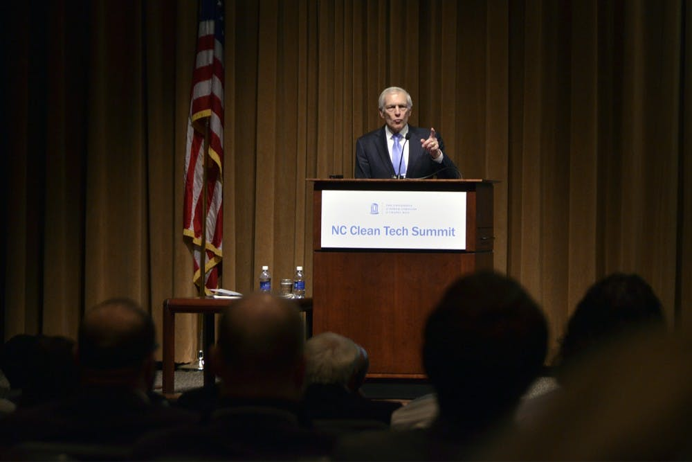 General Wesley Clark was the keynote speaker at the North Carolina Clean Tech Summit on Thursday at the Friday Center.