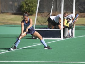 Junior Gab Major (27) inserts the ball against App State. UNC defeated App State 9-1.