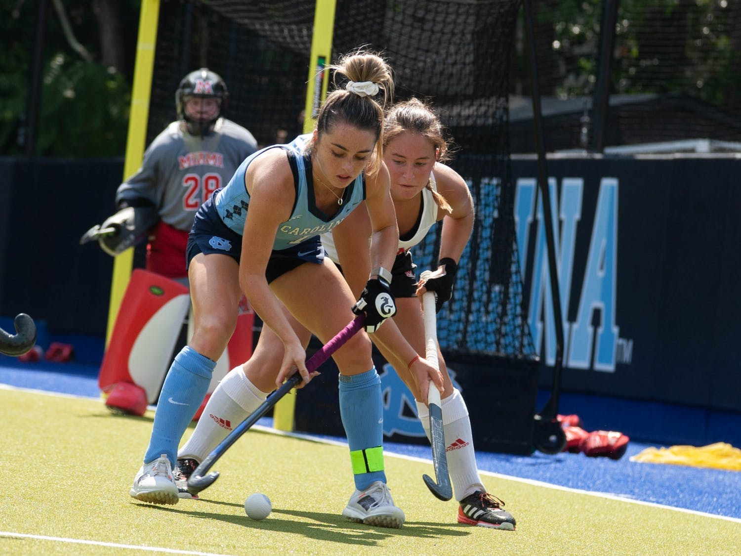 UNC senior forward Erin Matson (1) dribbles in the ball during the field hockey game against the Miami Redhawks at Karen Shelton Stadium on Sept.19, 2021. The Tar Heels defeated the Redhawks 7-2.
