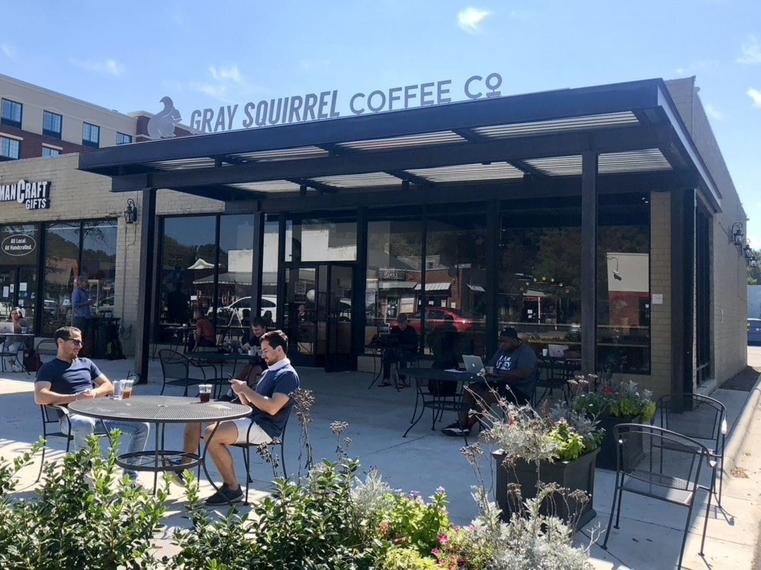 """The Gray Squirrel Cafe, pictured on Thursday, Oct. 6, 2020 is the location for Carrboro's new mural that will be painted by Jermaine """"JP"""" Powell."""