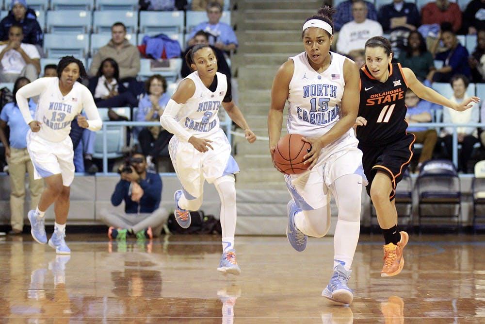 <p>Sophomore guard Allisha Gray (15) scored 22 points in UNC's 79-77 win over Oklahoma State.</p>
