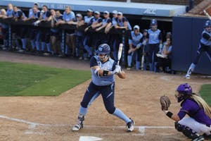 Brittany Pickett (28) prepares for a swing against ECU on April 18 in Anderson Stadium.