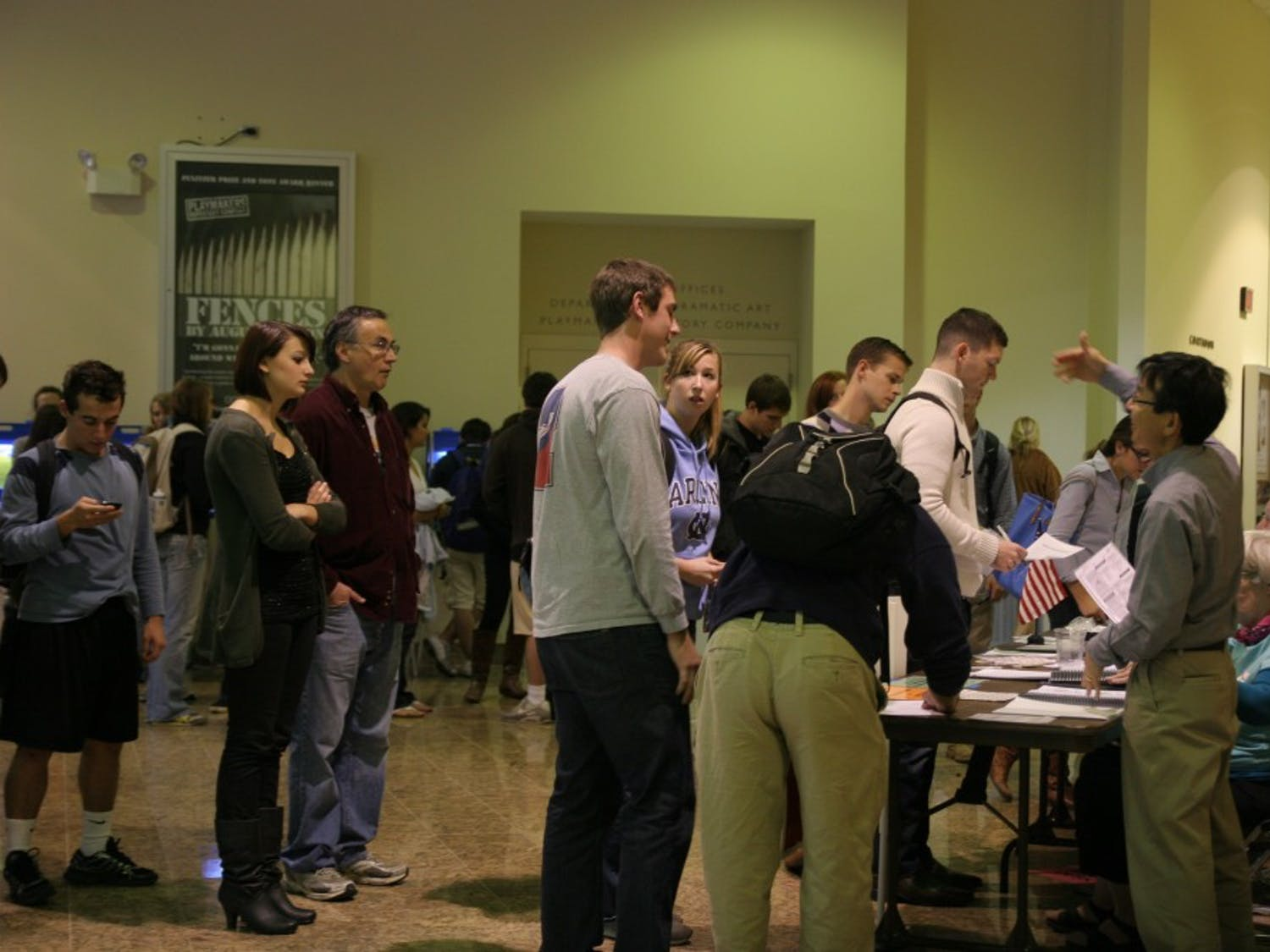 Though many students found the voting location confusing Tuesday, voting was actually taking place at the Center for Dramatic Art, not Morehead Planetarium. Once inside, the confusion continued as students had difficulty figuring out which line to stand in.