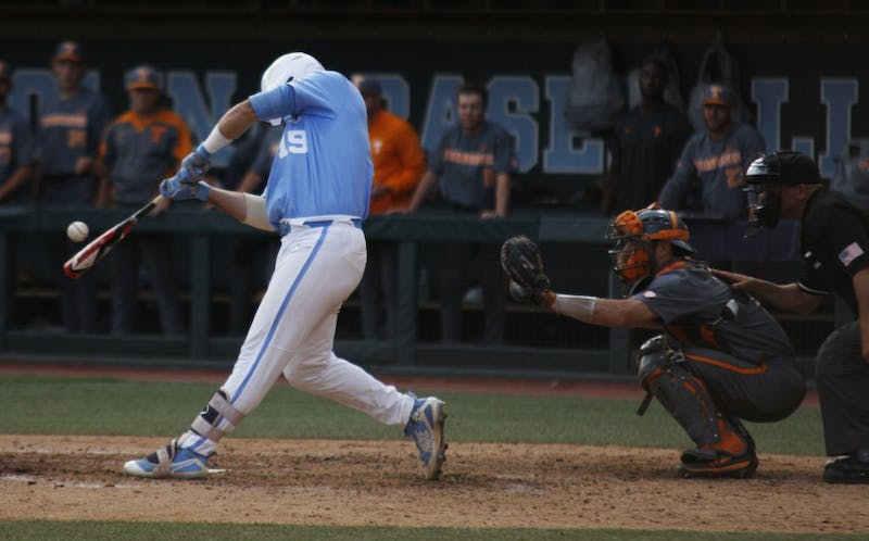 UNC baseball first year and 1B, Aaron Sabato (19), hits the ball during the final game in the regional championships versus Tennessee on Sunday June 2, 2019. UNC won 5-2.