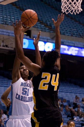 Jessica Breland led the Tar Heels with 19 points Monday and missed only one shot ? what could have been the second dunk ever by a UNC woman.