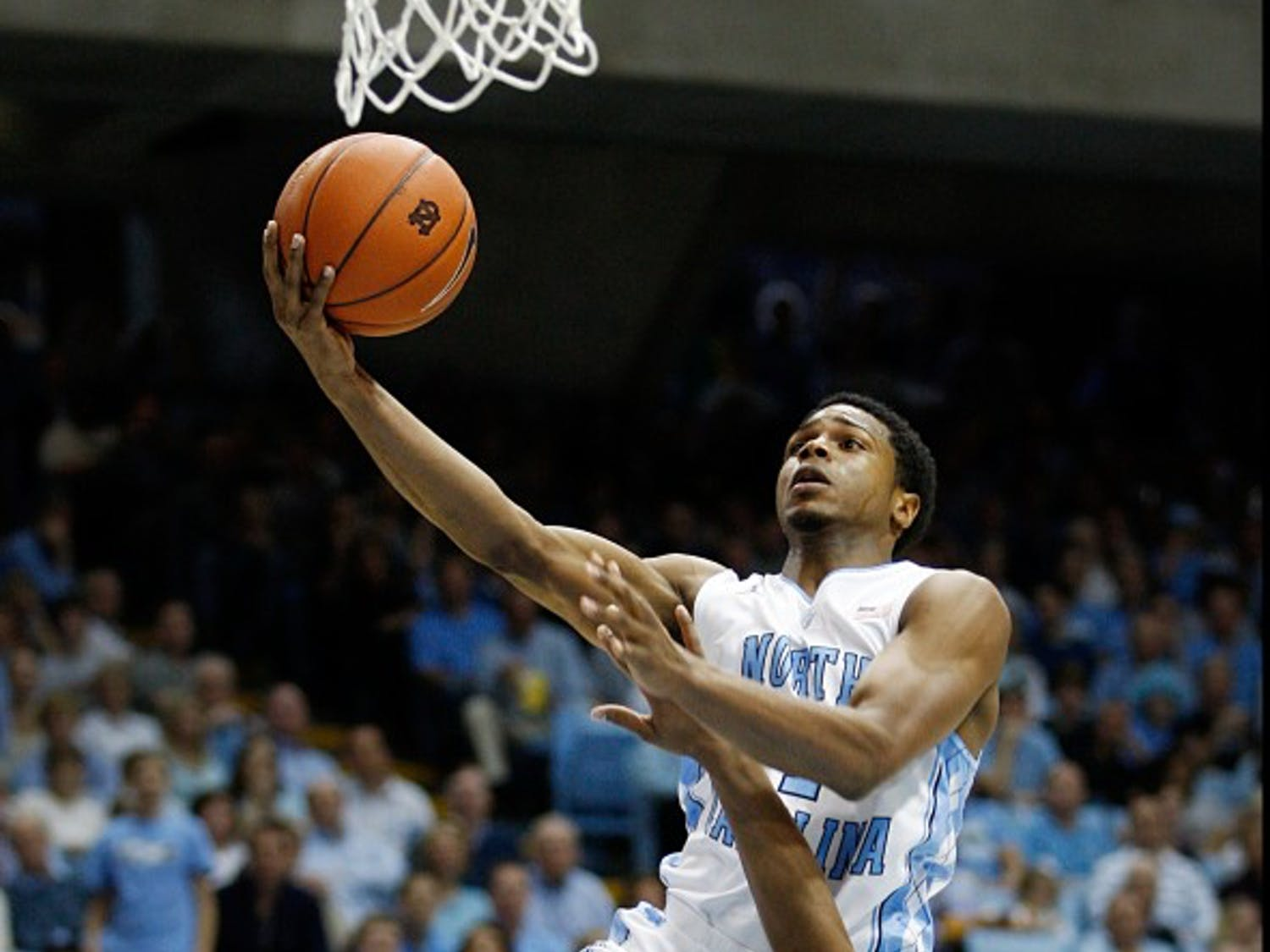 UNC guard Dexter Strickland drives to the hoop during the game against Boston College on Saturday. The Tar Heels defeated Boston College 83-60.
