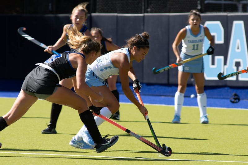 UNC graduate back Courtnie Williamson (25) runs upfield during a game against Duke on Sunday, Oct. 18, 2020.