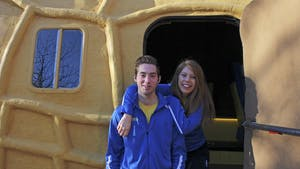 """Planters representatives Alejandra Galindo and Dylan Eikes with their """"nutmobile"""" on Saturday afternoon."""