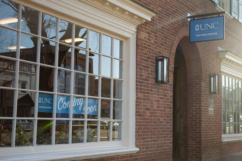 The UNC Visitor Center on Franklin Street pictured on Friday, Feb. 21, 2020. The goal of the center is to be interactive and bridge the gap between student life and the Chapel Hill community.