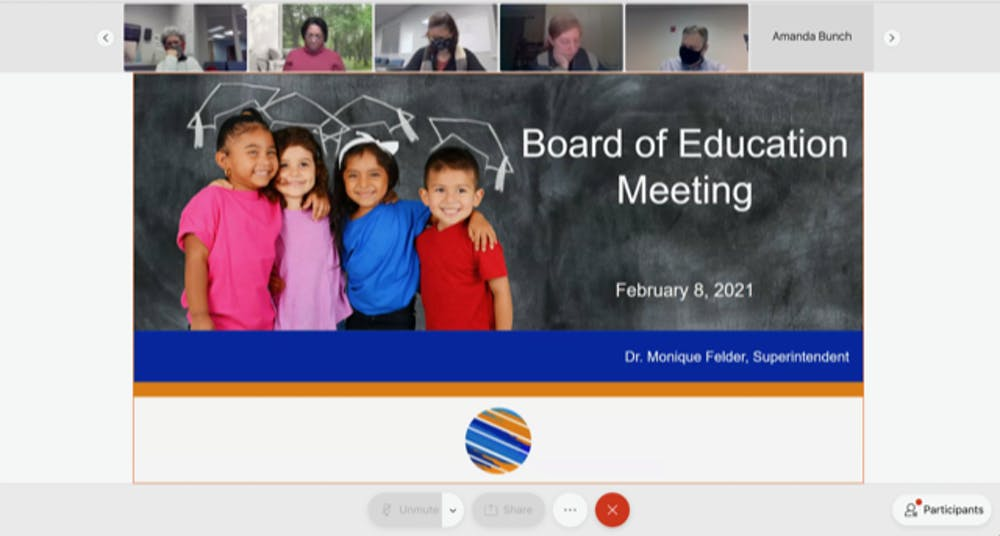 <p>Screenshot from the Orange County Schools Board of Education meeting on Monday, Jan. 8, 2021.</p>