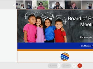 Screenshot from the Orange County Schools Board of Education meeting on Monday, Jan. 8, 2021.