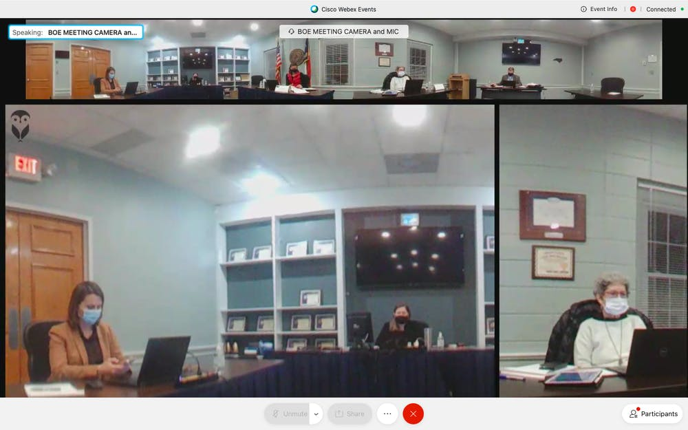 <p>Screenshot from the Orange County Schools Board of Education meeting held on Monday, Jan. 11, 2021.</p>