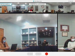 Screenshot from the Orange County Schools Board of Education meeting held on Monday, Jan. 11, 2021.