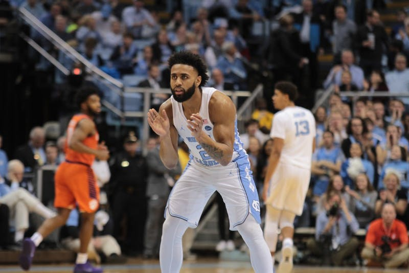 Guard Joel Berry II celebrates after a play against Clemson on Jan. 16 in the Smith Center.