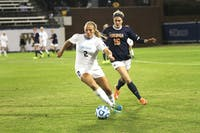 The UNC women's soccer team lost 2-0 to Virginia at UNCG for the ACC tournament.